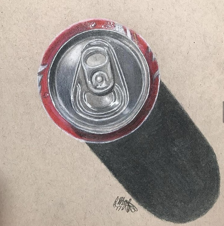 colored pencil art drawing of aluminum soda can from above with shadow on a beige background