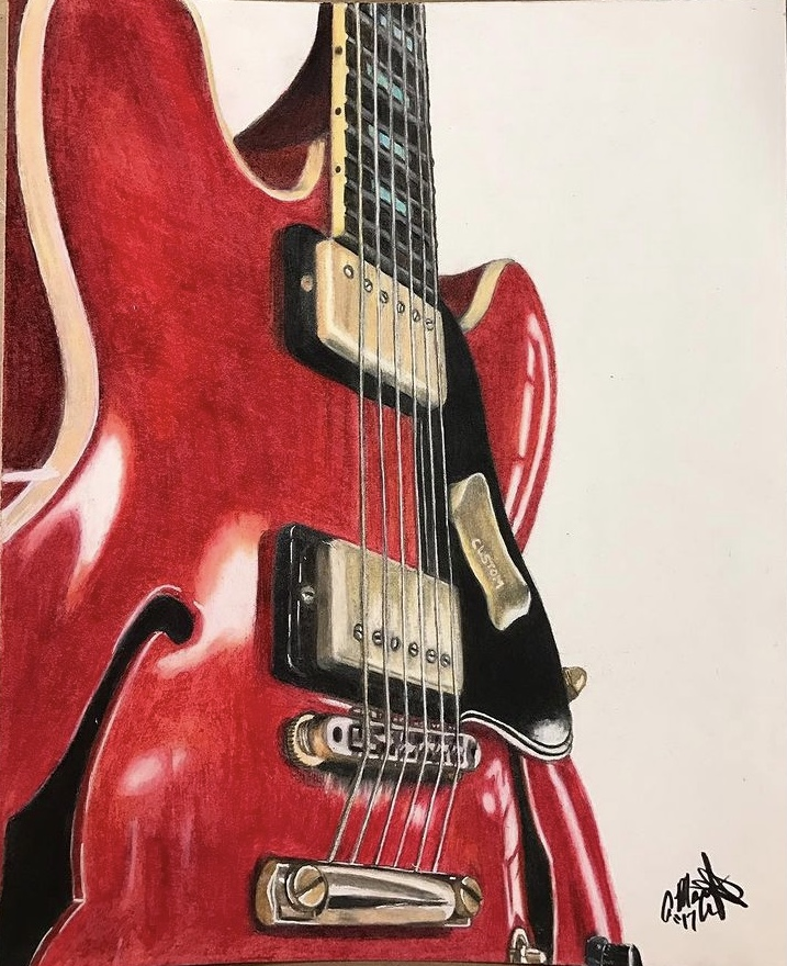 colored pencil art drawing of red electric guitar on a white background