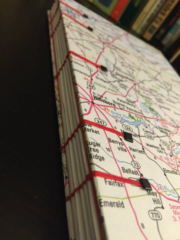 handbound journal with road map cover